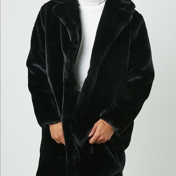 Forever 21 Longline Black Fur Coat